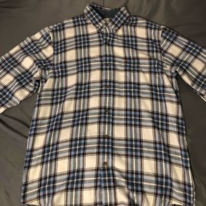 Men's Medium White and Blue Izod Button Down Shirt